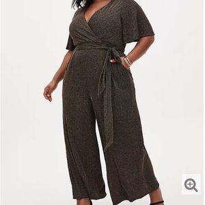 NWT Torrid Black Gold Shimmer Stripe Jumpsuit 2X